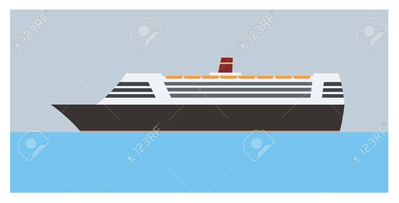 Ship Simple Illustration Royalty Free Klipartlar Vektör çizimler Ve