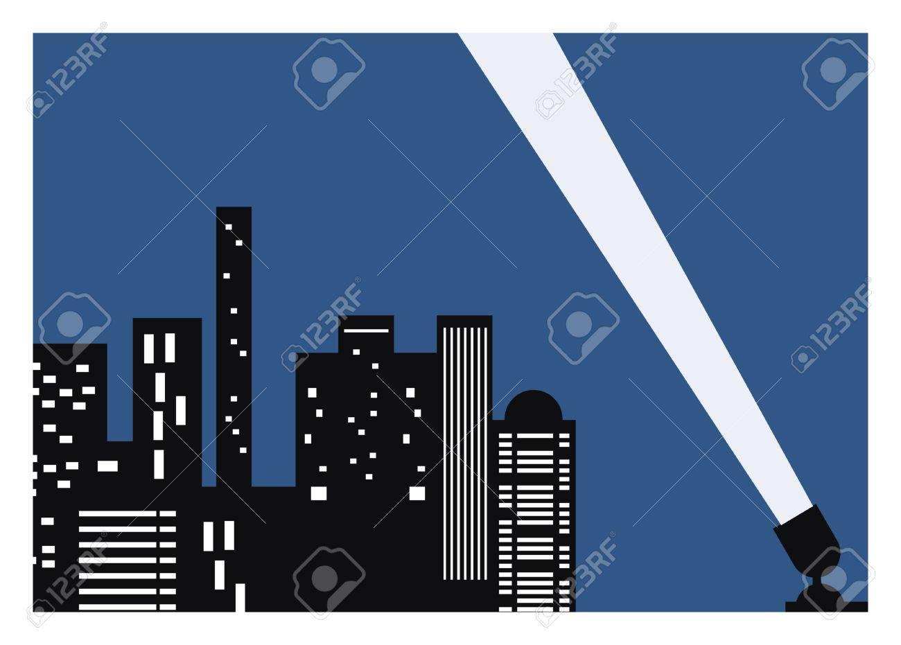 スポット ライト付けの建物・ シティ ・ ナイト