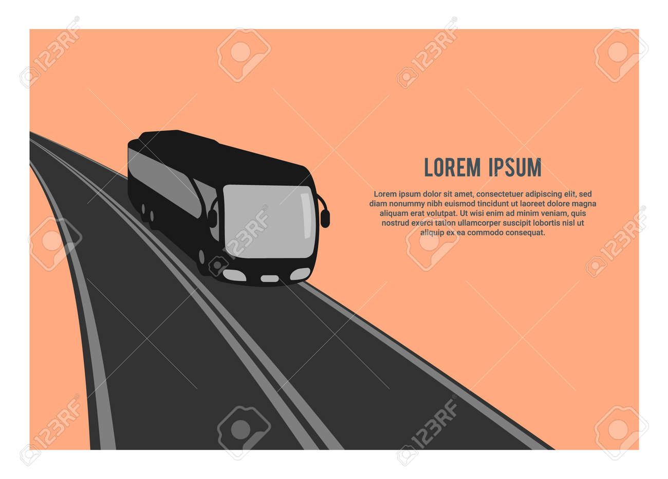 Traveling by bus. Simple silhouette illustration. - 157486033