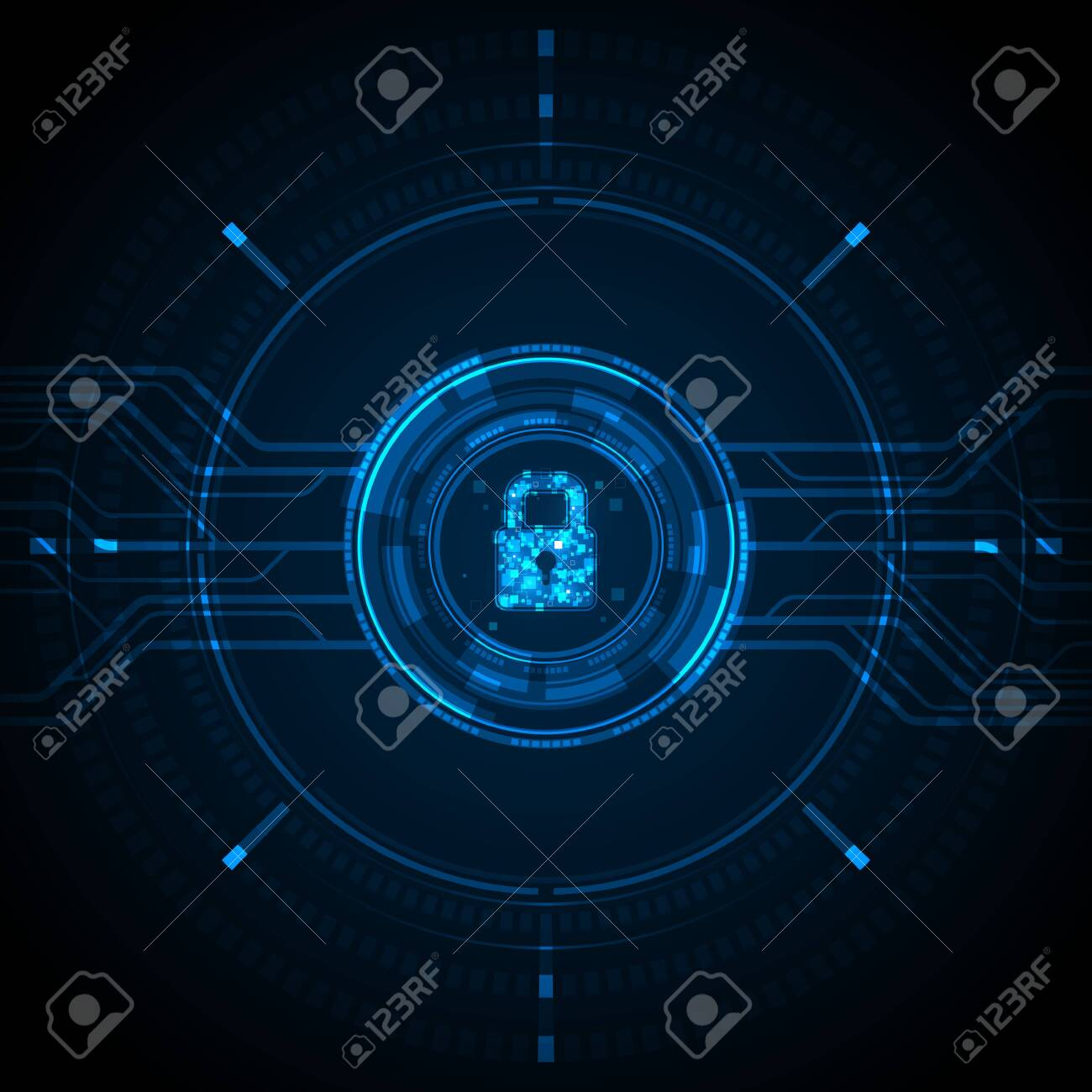 Blue light data lock icon and circle circuit digital on dark background cyber security technology concept - 157031031