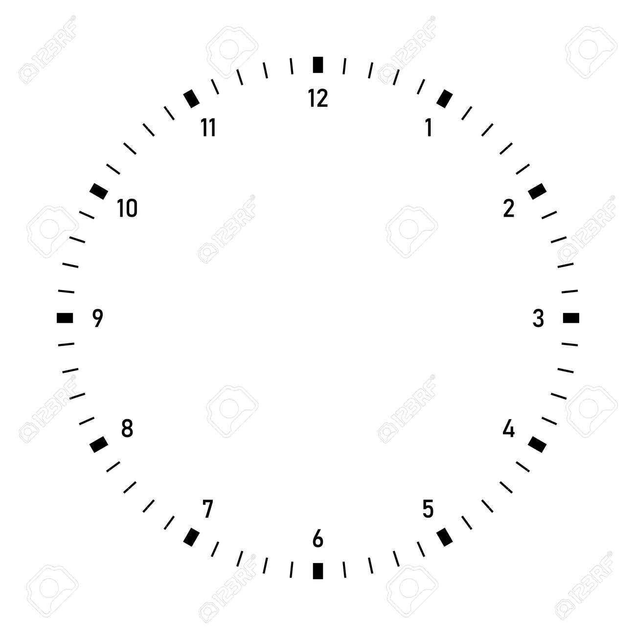 Clock dial vector. Precise and simple design, minimalist style, black and white color. - 156934198