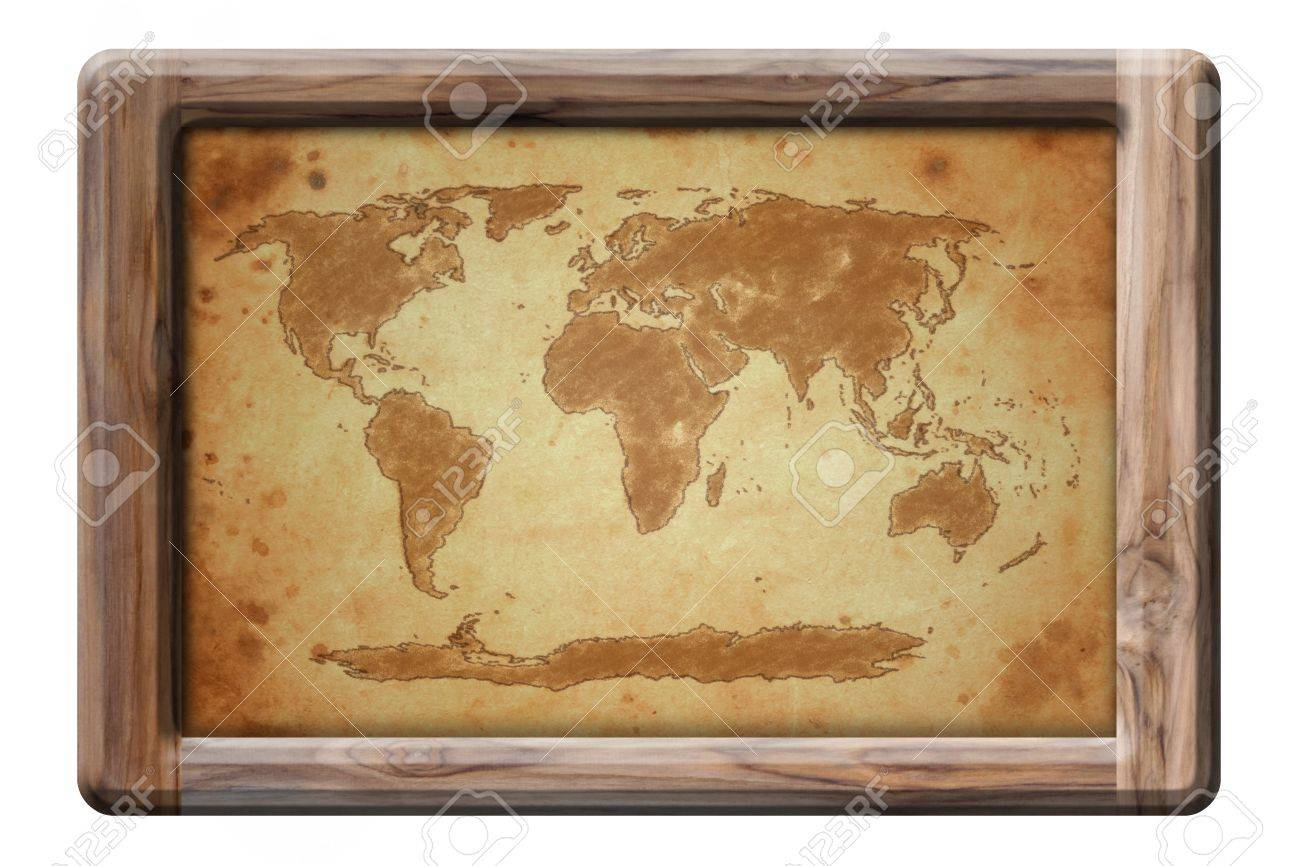 stock photo old world map in wooden frame