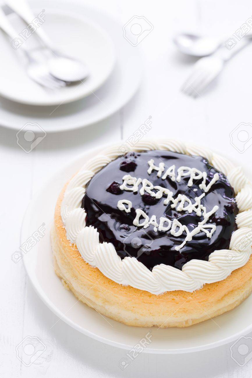Remarkable Happy Birthday Daddy Cake On White Wooden Background Stock Photo Personalised Birthday Cards Veneteletsinfo