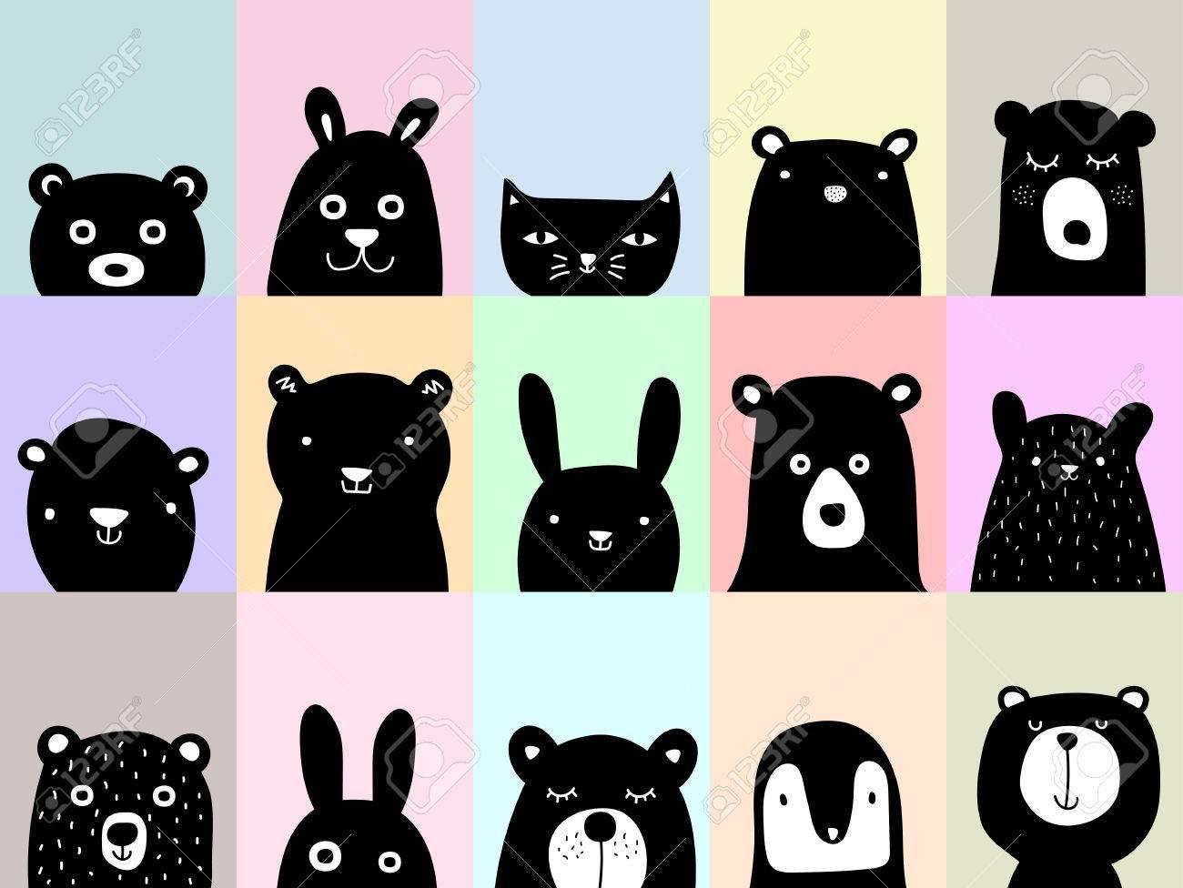 動物ポスター、かわいい壁の芸術写真、漫画の動物イラスト ロイヤリティ