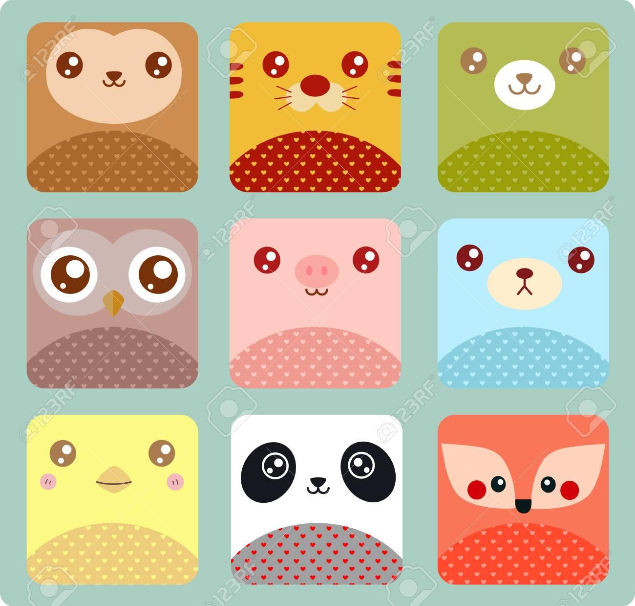 Cute animal icons - 61632824