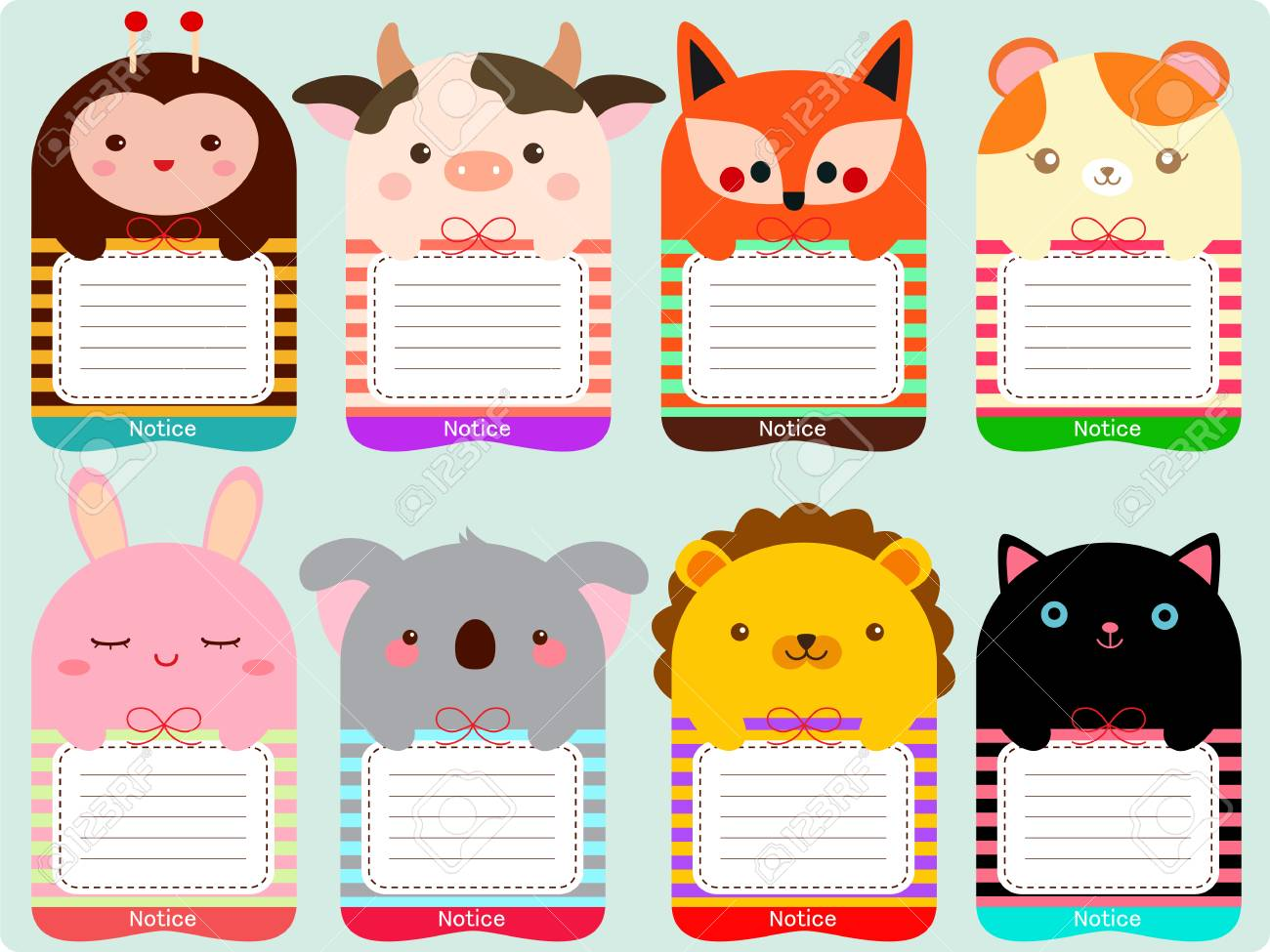 Cute animals note set - 61632784