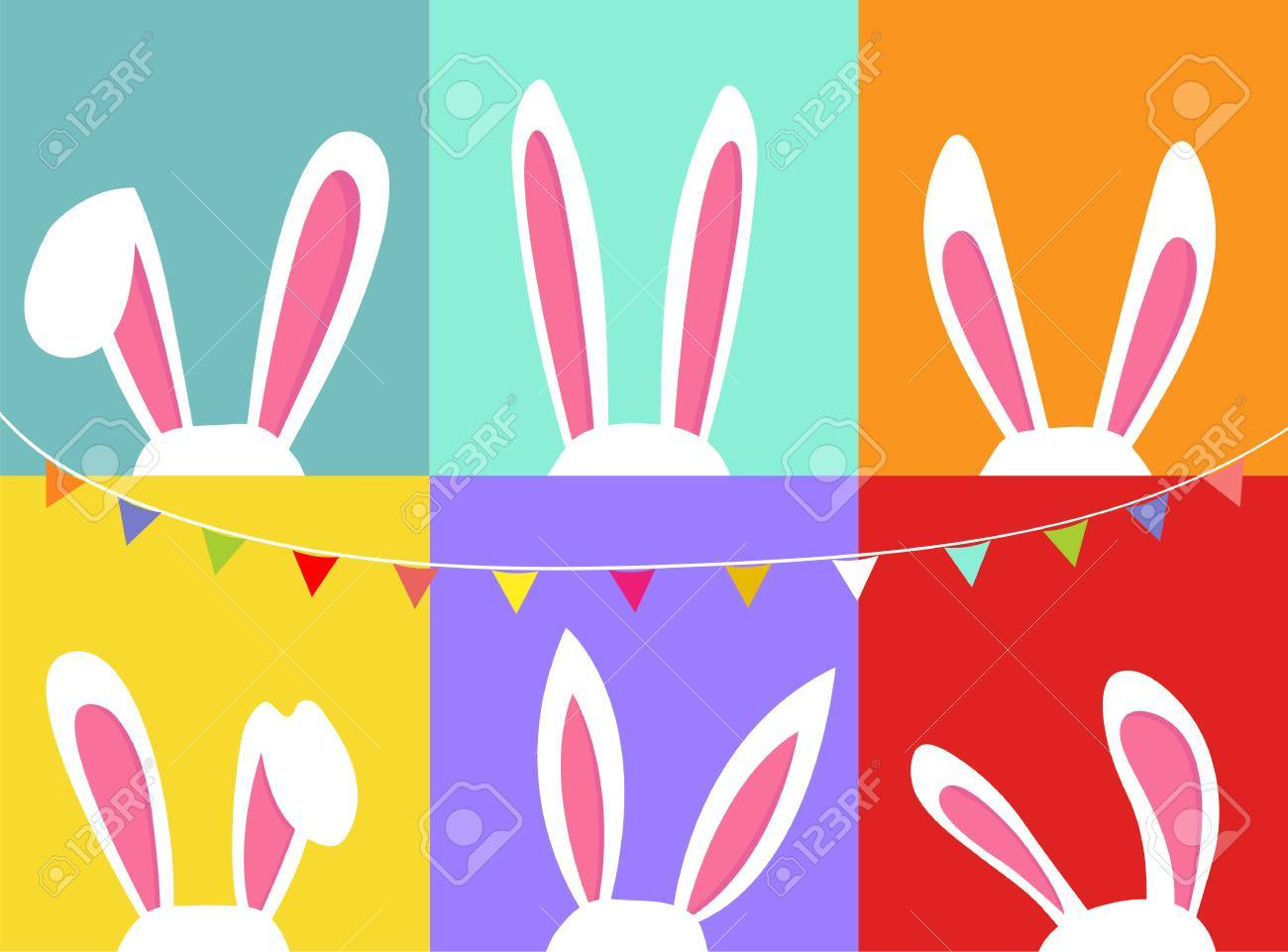 Set of easter bunny ears, with party flag bunting, colorful background - 61632690