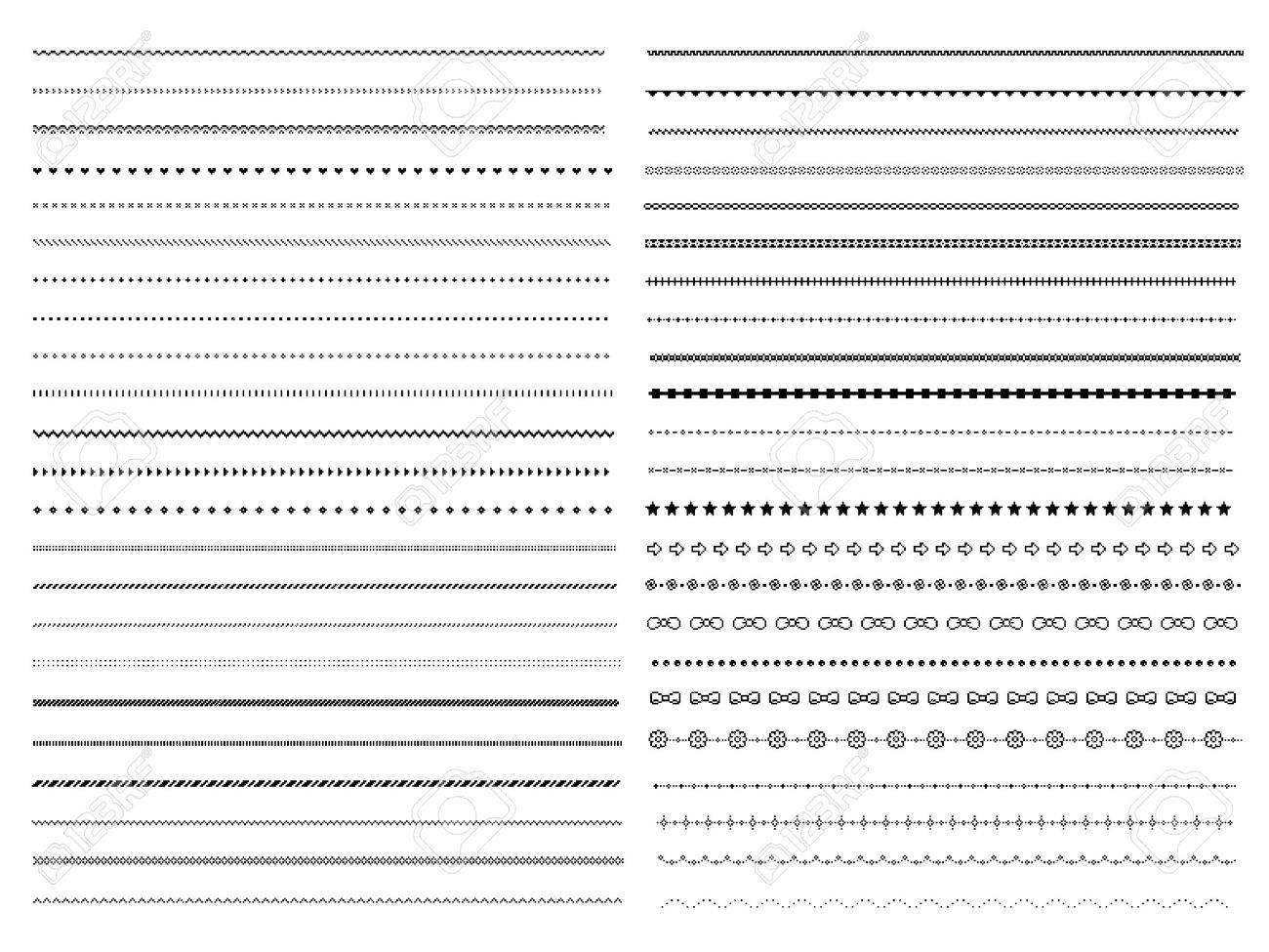 Set of pixel dividers design elements - 61752698