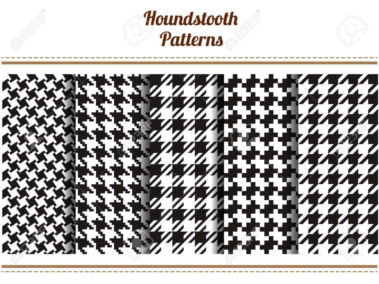 Set of seamless black and white houndstooth vector patterns - 61753248