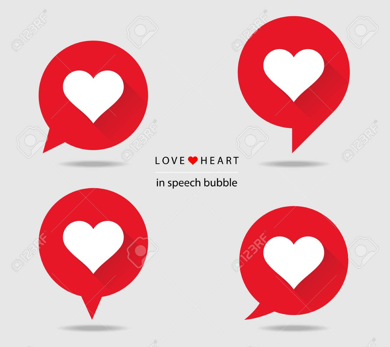 Love heart in speech bubble flat icons with long shadow - 61752733