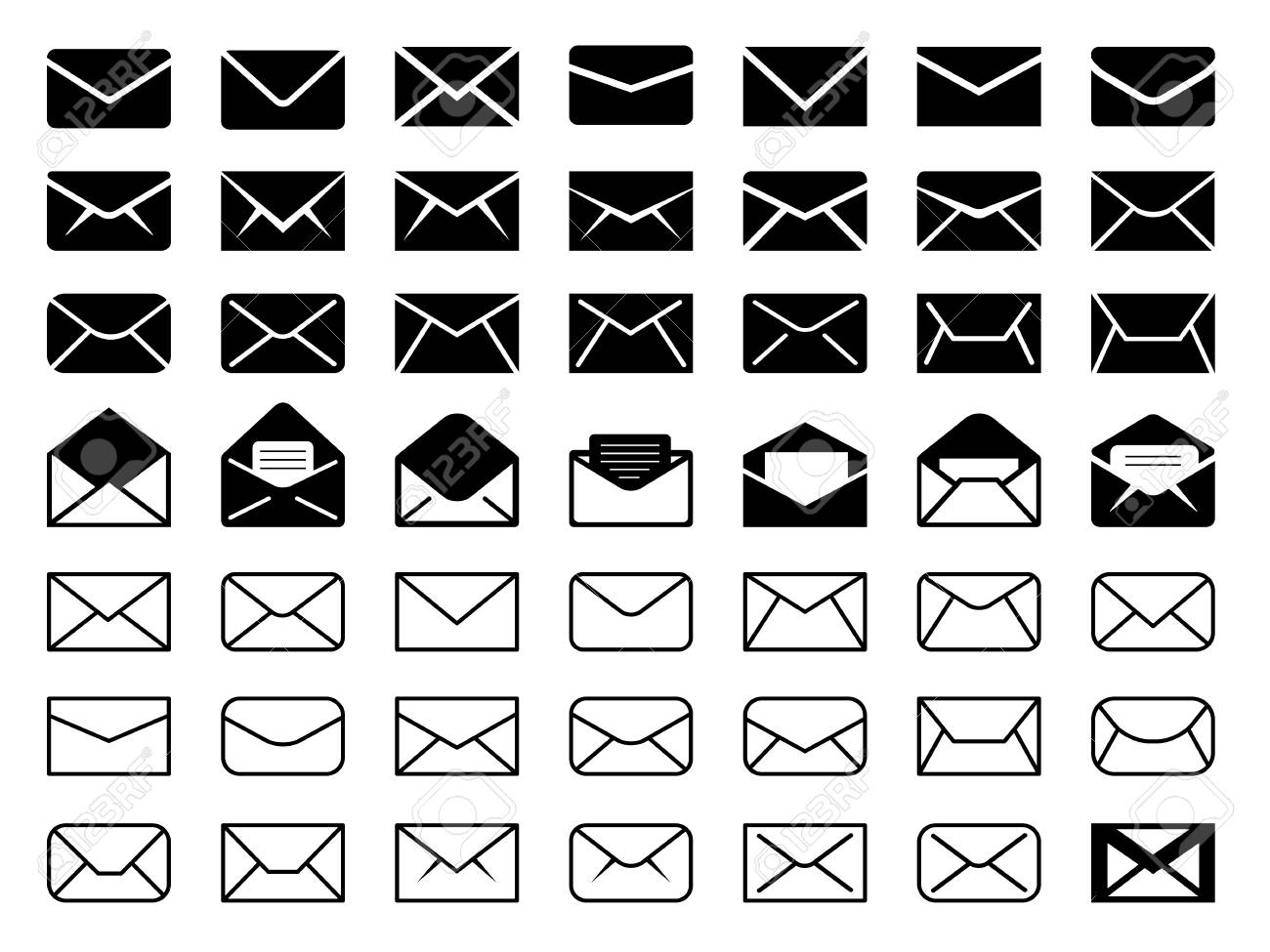 Envelope mail icon set - 61752734