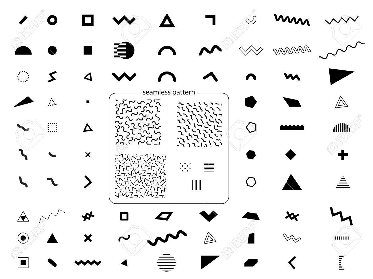 Set of geometric retro memphis style elements and seamless abstract geometric pattern in retro memphis style - 61753287