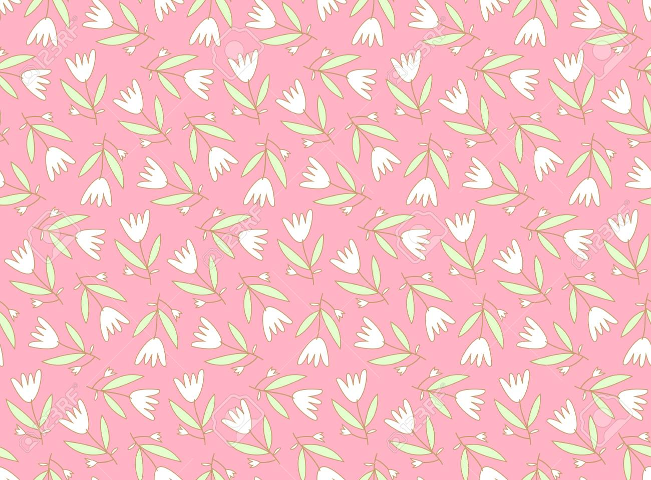 Seamless pattern with cute flowers - 61789843