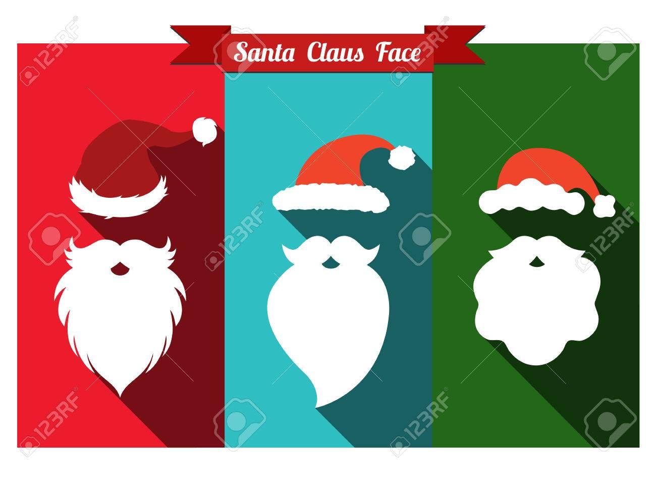 Santa claus face flat icons with long shadow. Set of santa hats and beards. - 61790296