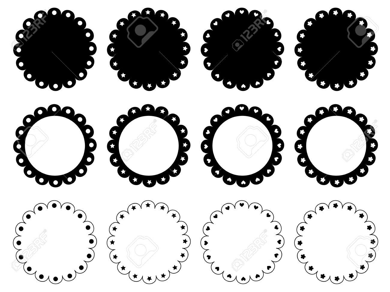 Scalloped edge circle frame set - 61790298