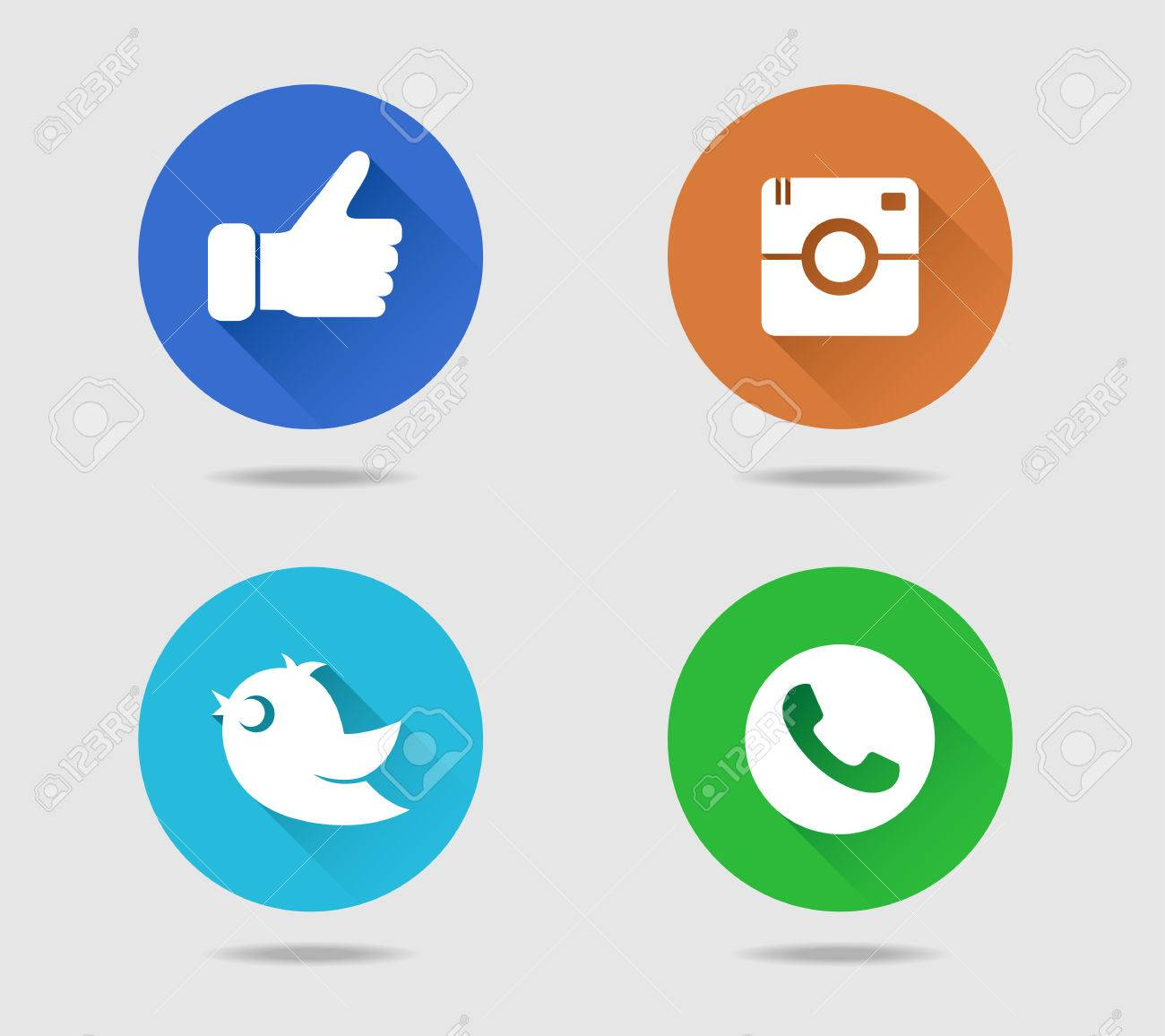 Camera, thumb, bird and telephone receiver flat icons with long shadow - 61790303