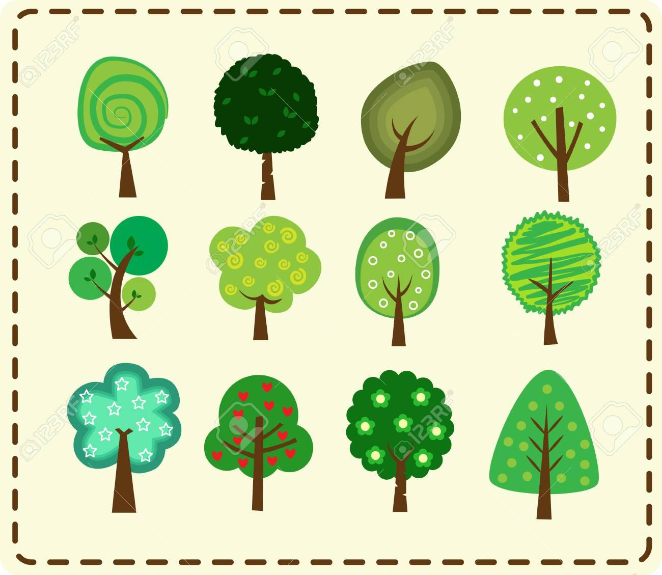 Cute tree icon set - 61790919