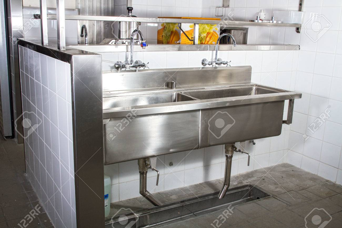 Professional Kitchen, View Counter In Stainless Steel . Stock Photo ...