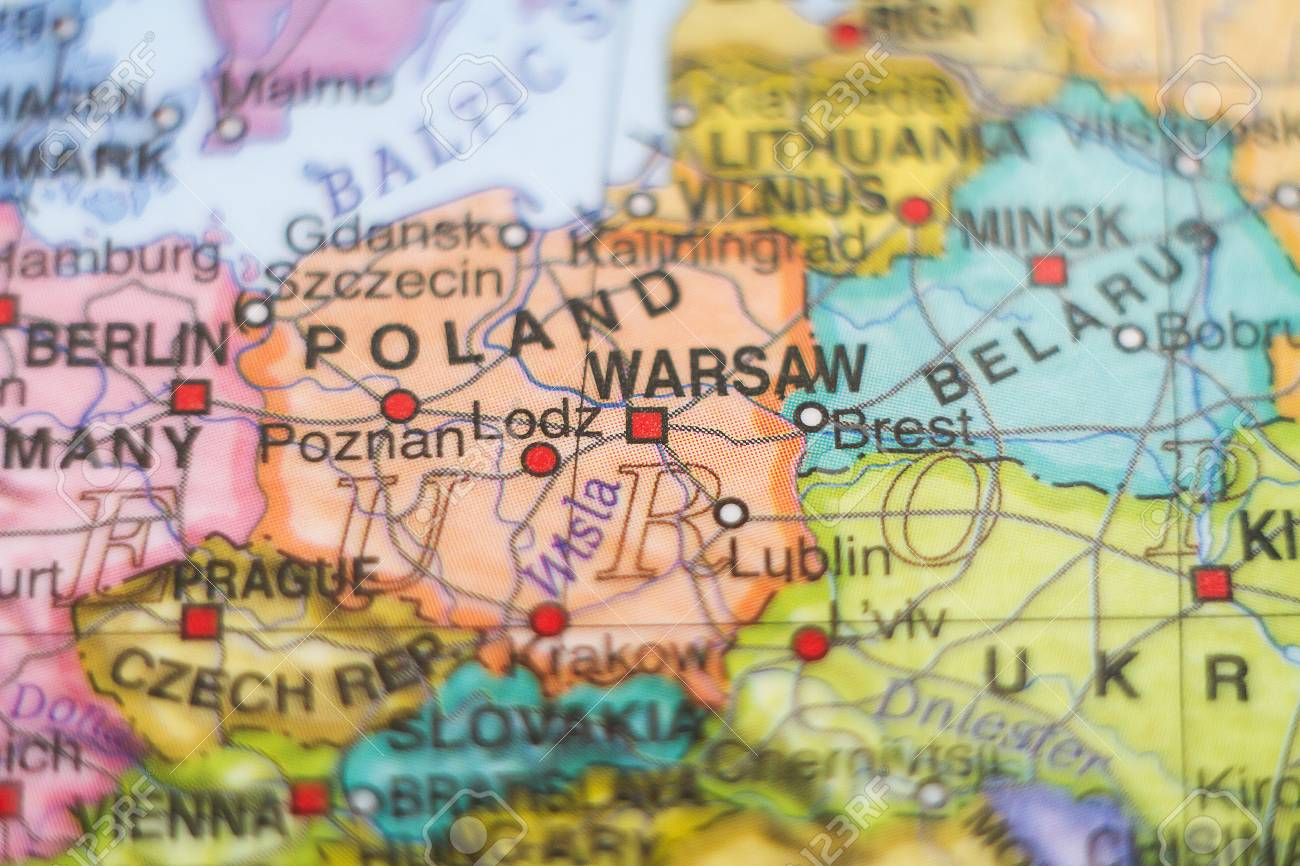 Capital Of Poland Map.Photo Of A Map Of Poland And The Capital Warsaw Stock Photo