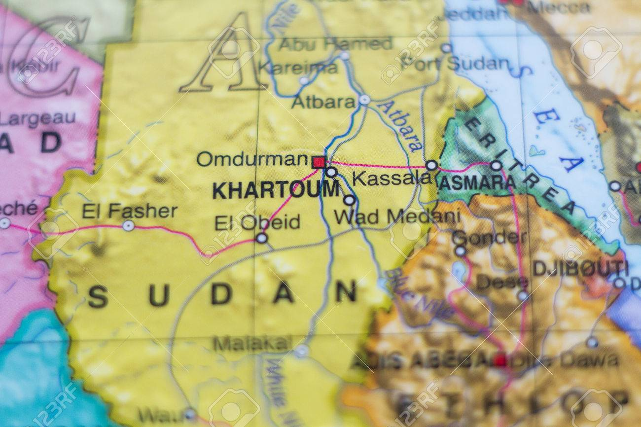 Beautiful Photo Of A Map Of Sudan And The Capital Khartoum Stock
