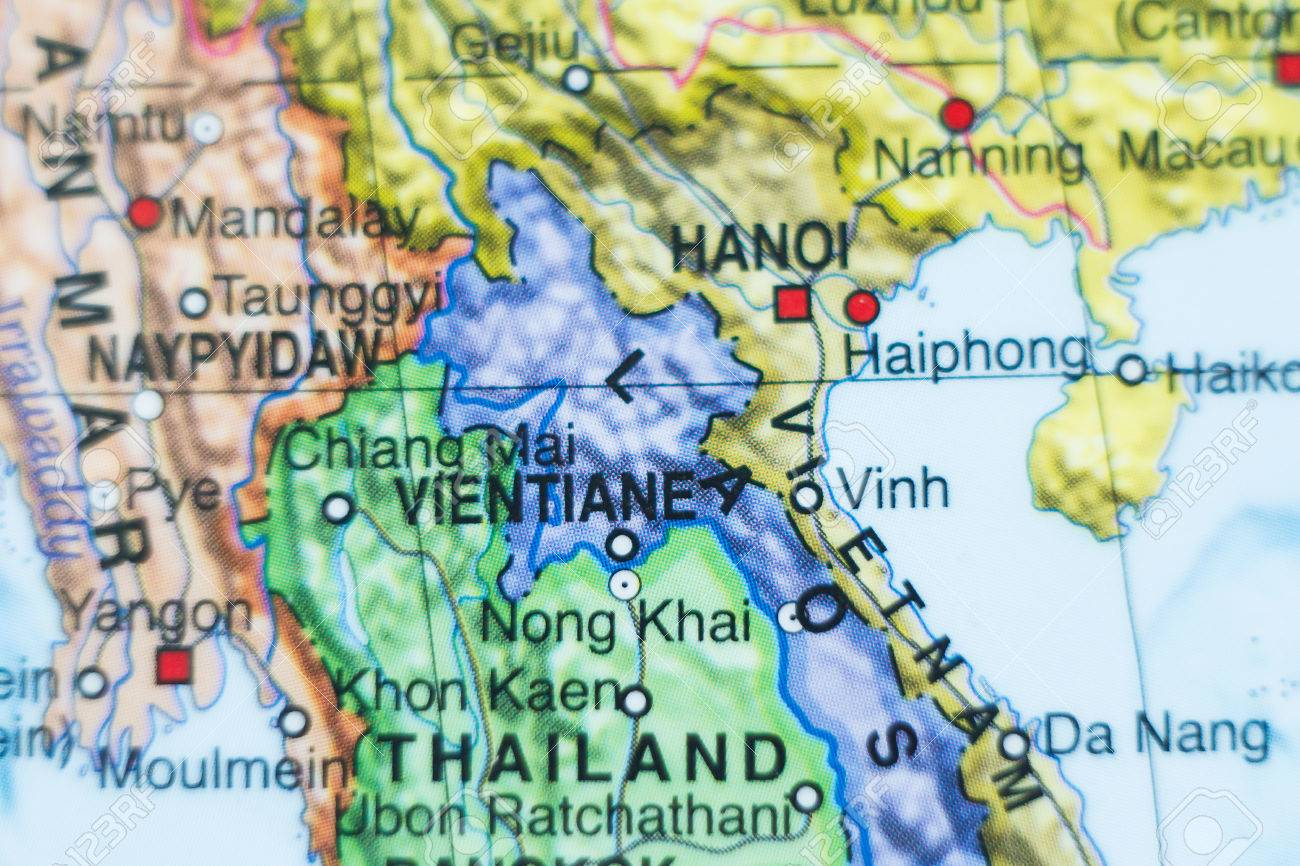 Photo Of A Map Of Laos And The Capital Vientiane . Stock Photo ...
