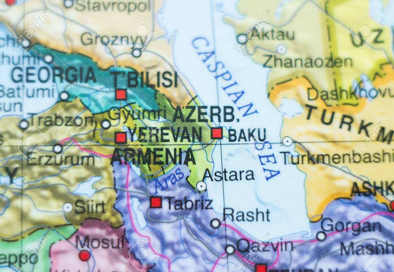 Photo Of A Map Of Azerbaijan And The Capital Baku Stock Photo