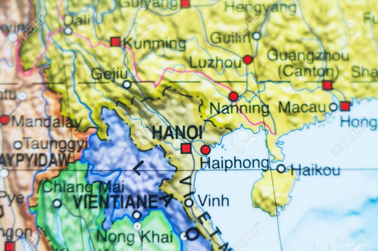 Ha Noi Vietnam Map.Photo Of A Map Of Vietnam And The Capital Hanoi Stock Photo