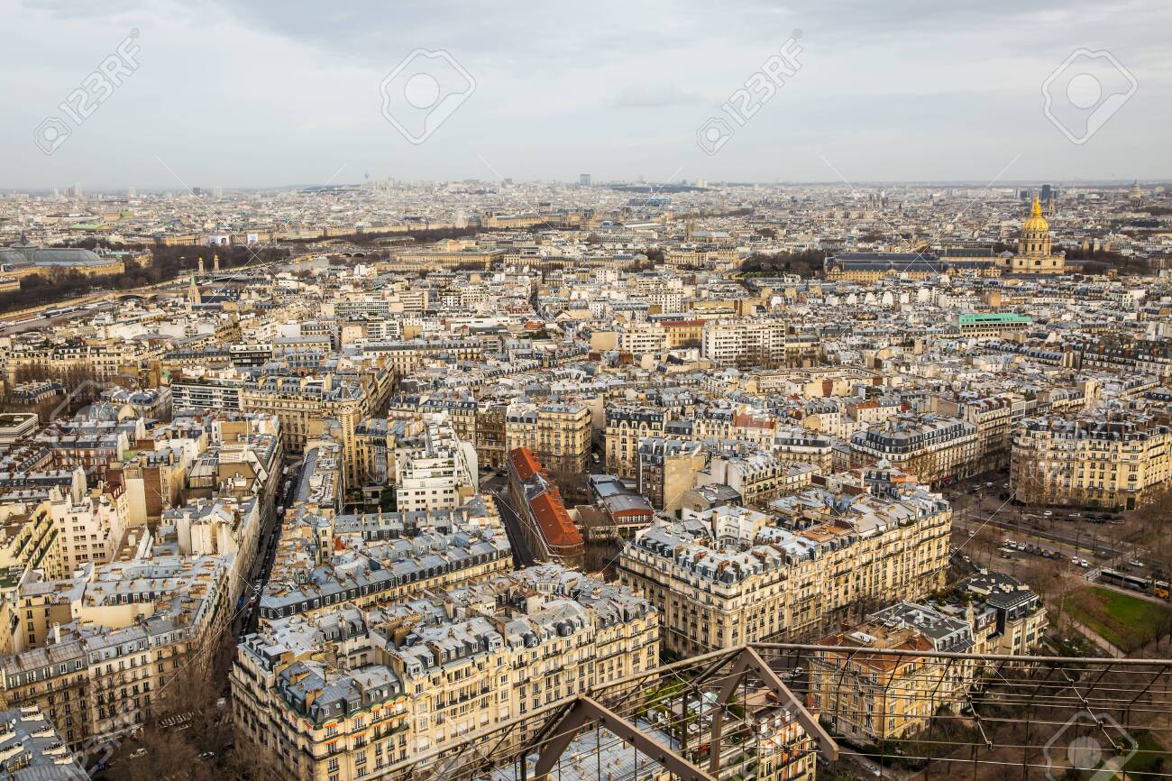 Aerial view of Paris city and Seine river from Eiffel Tower. - 143914310