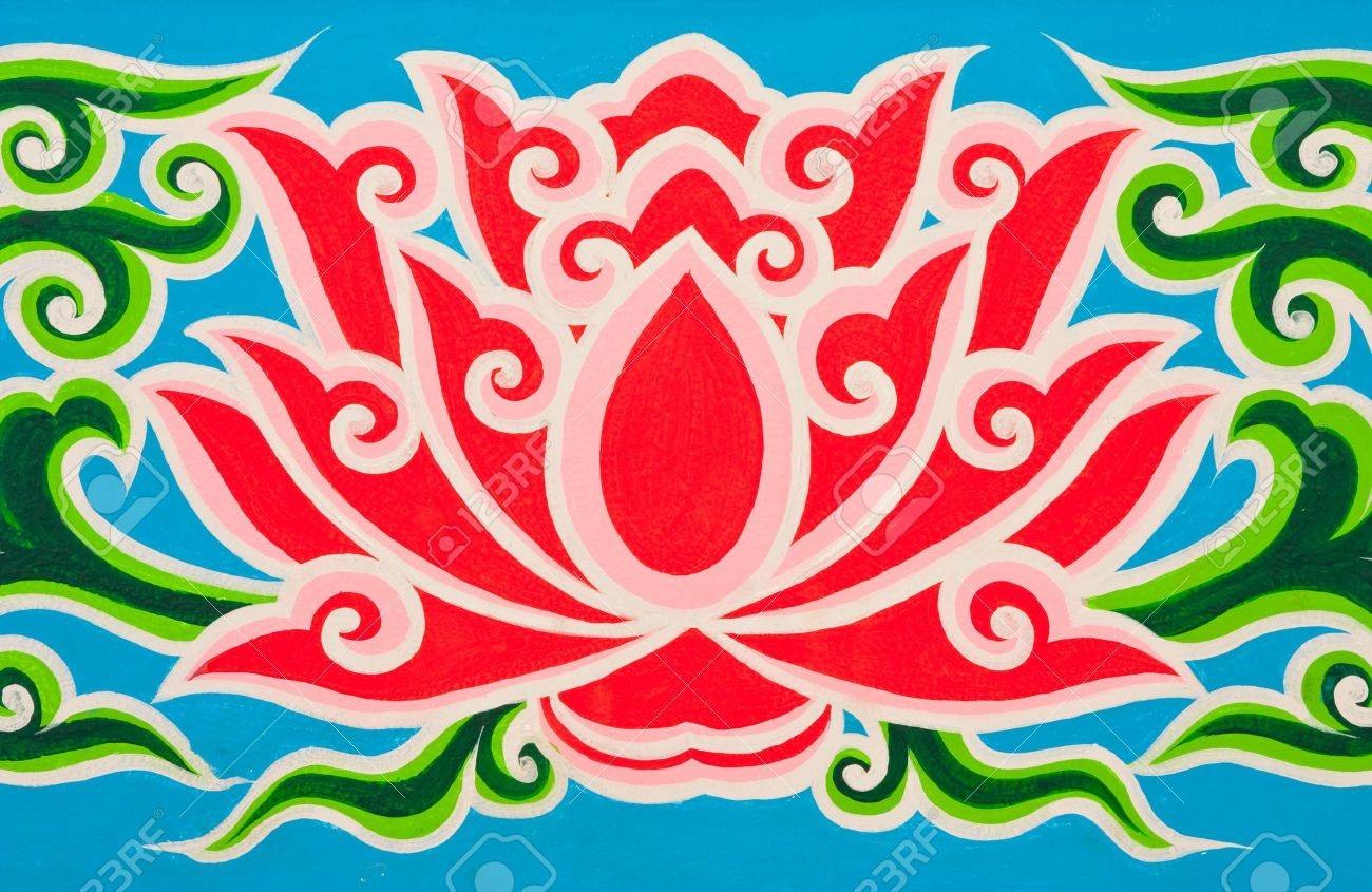 Lotus in Thai traditional painting style Stock Photo - 4631011