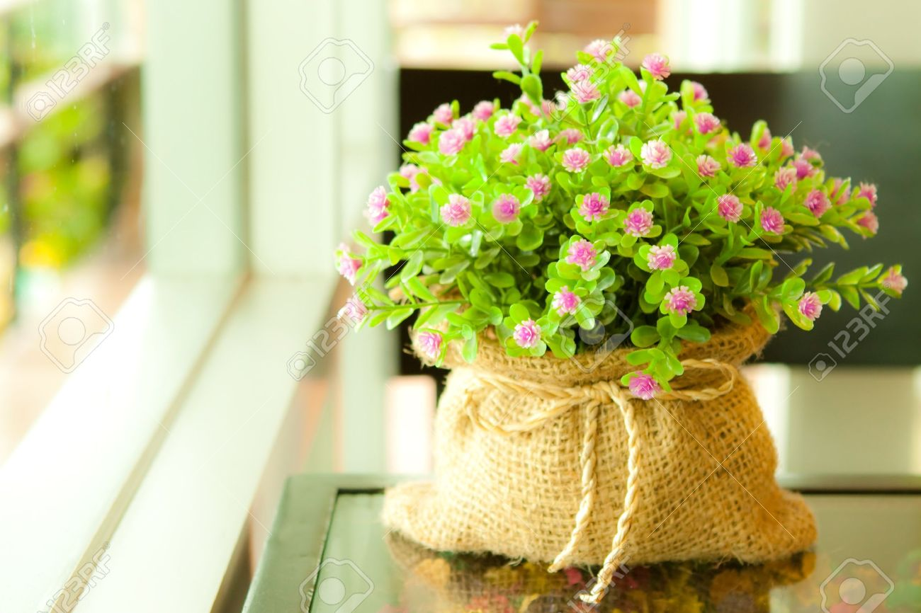 Artificial flower in lovely sack Stock Photo - 7650061