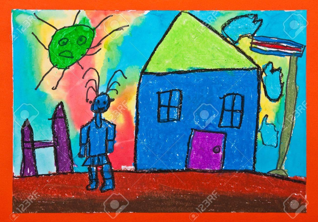 Painting by kid in kindergarten Stock Photo - 7649884