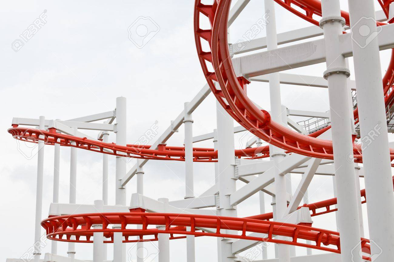 Line of red roller coaster rail Stock Photo - 13912865