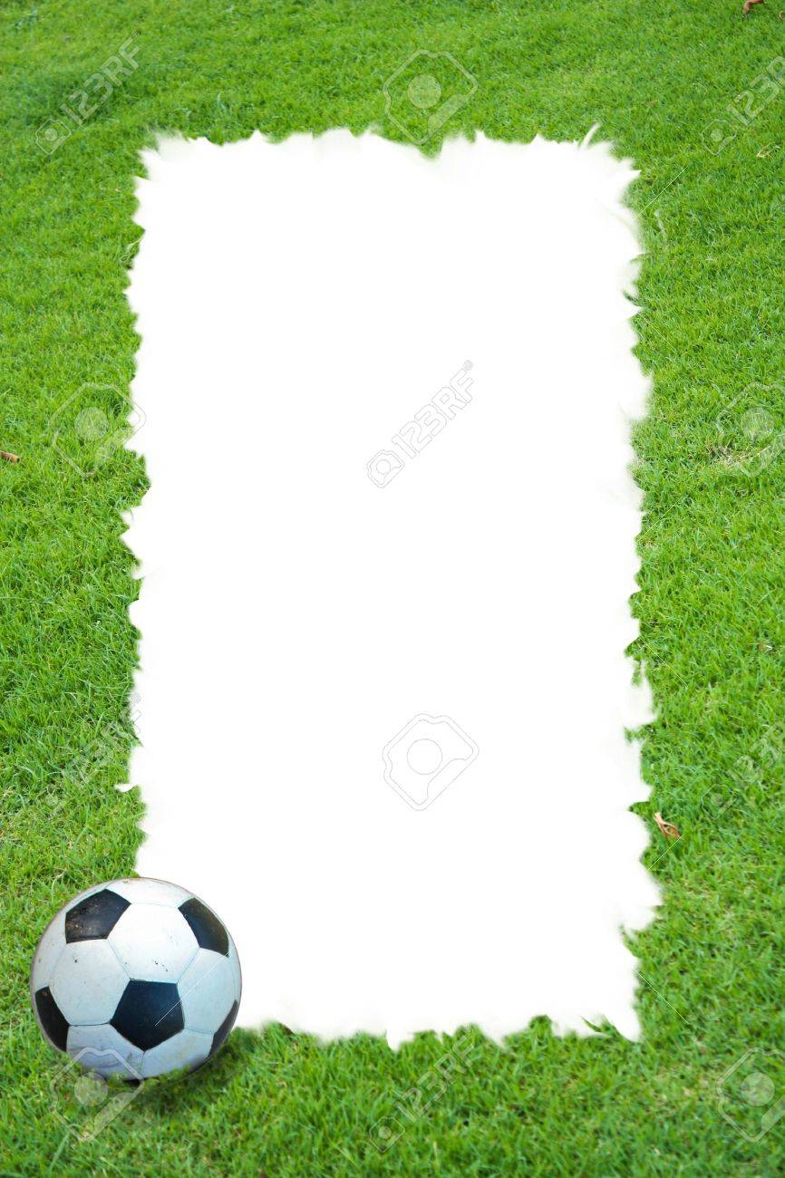 Grass Field And Football Frame Stock Photo, Picture And Royalty Free ...