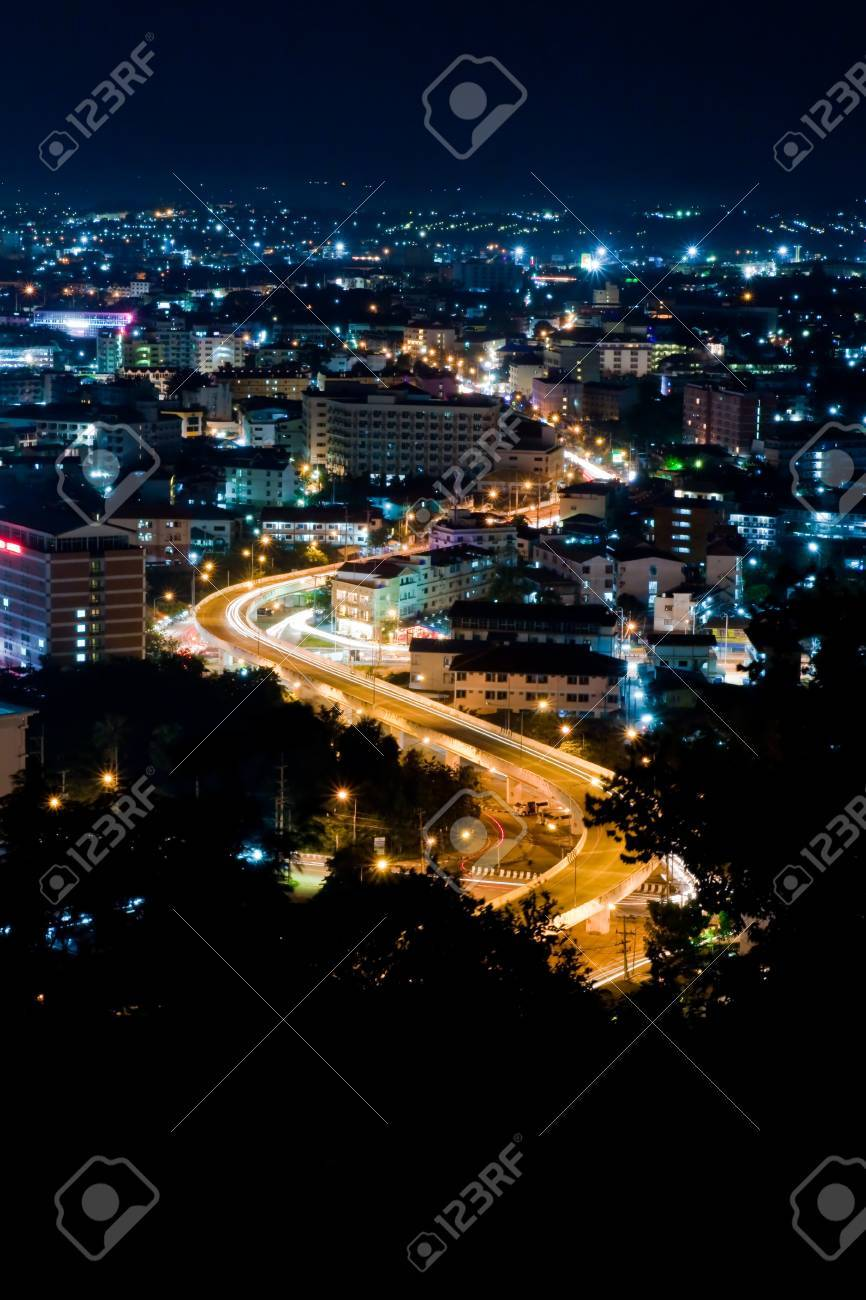 Top view of Pattaya night ,Thailand Stock Photo - 7877252