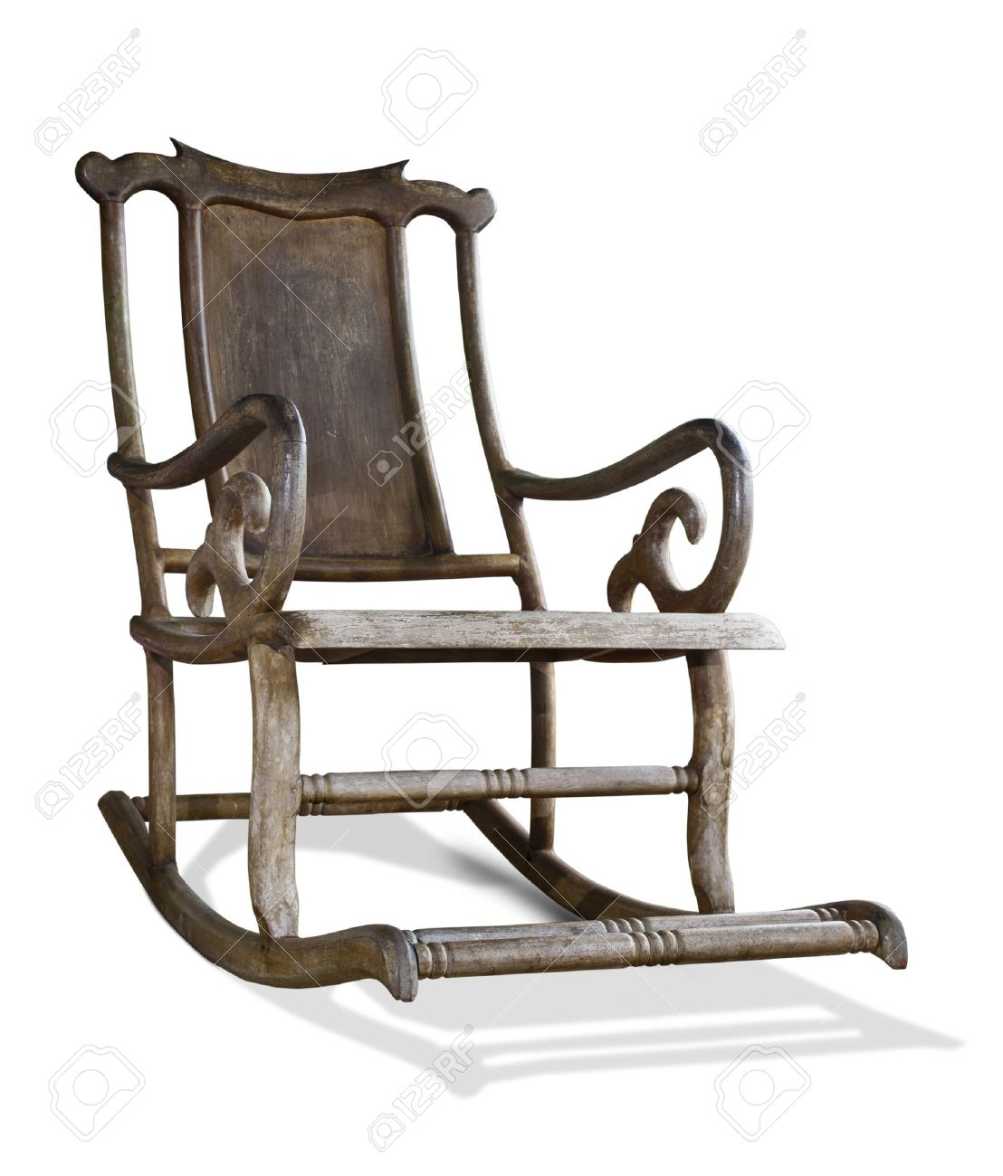 old wooden rocking chair isolated on white background stock photo