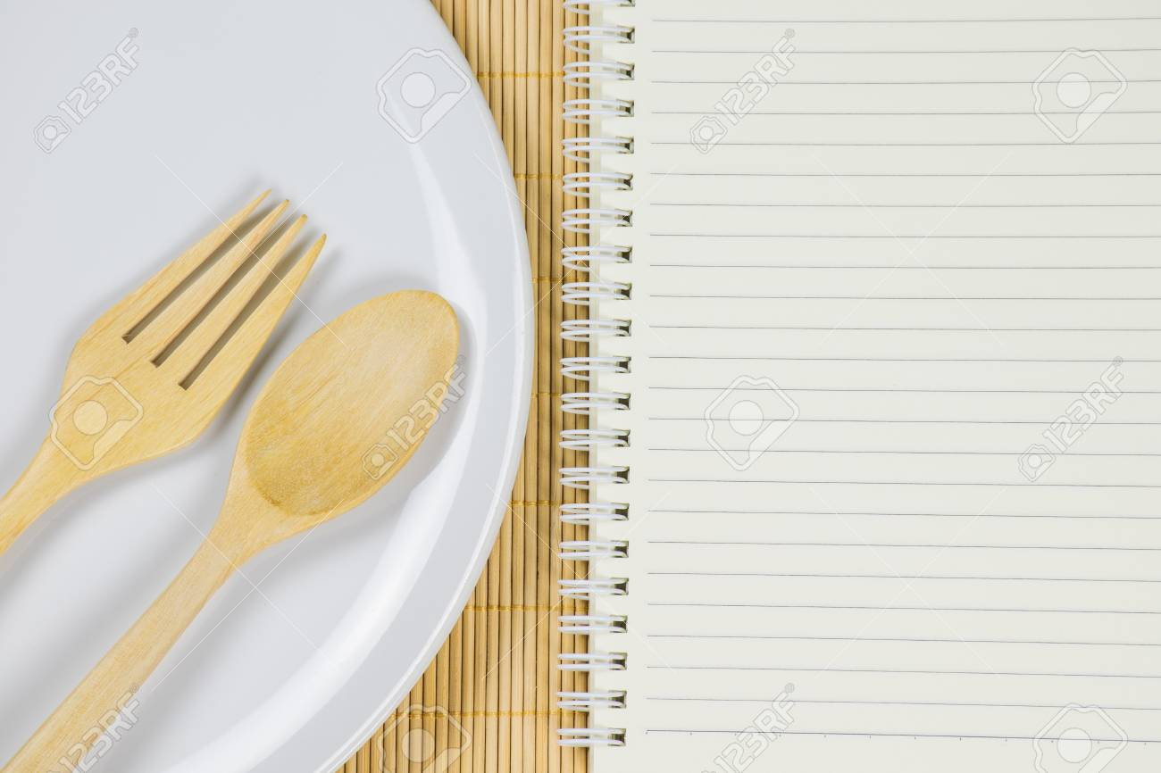 notebook paper for write or note about food, recipe, ingredient,