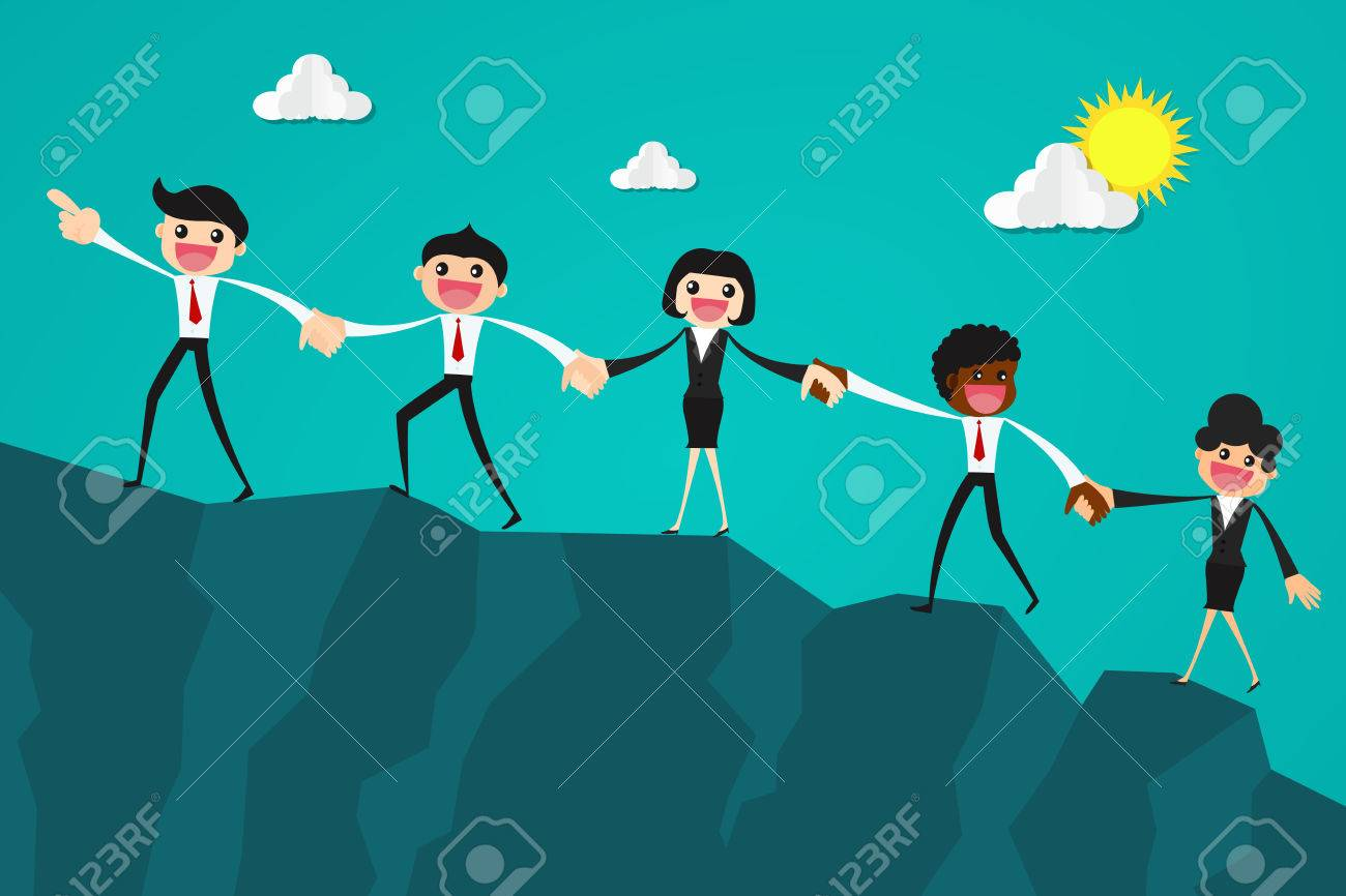 Business people together trying to climb up mountain holding each others hands.Business teamwork concept. - 82877839