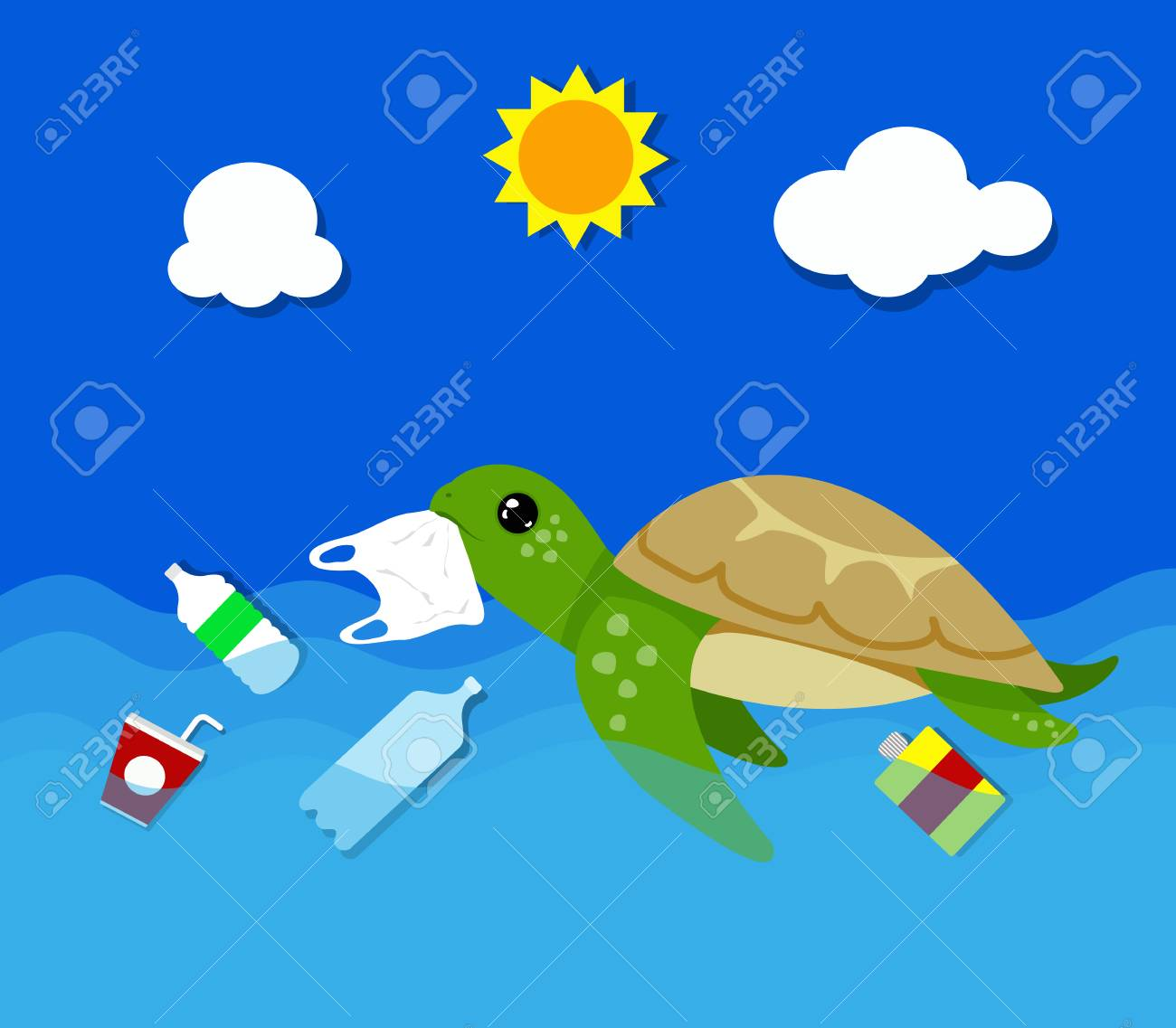 Plastic pollution in ocean environmental problem. Turtles can eat plastic bags mistaking them for jellyfish. vector illustration. - 106448671