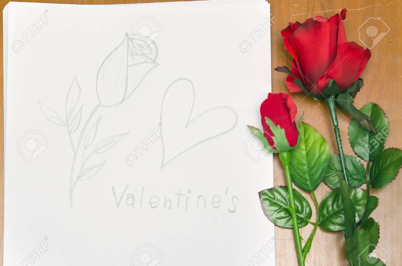 Roses Et Dessin A La Main De Coeur Pour L Evenement De La Saint