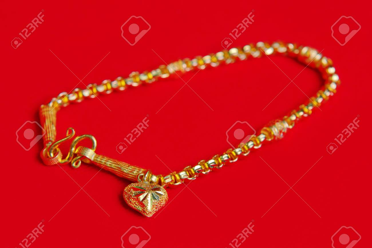 Gold Necklace 96.5 Precent Thai Gold Design With Gold Heart ...