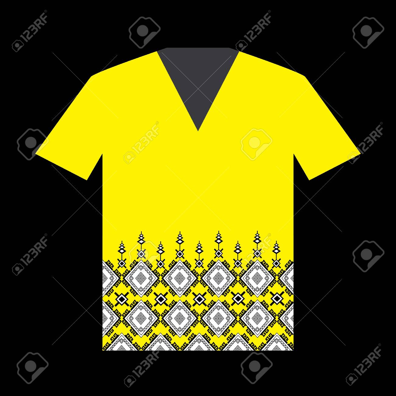 Illustration Of T Shirt Design Template With Geometric Ethnic