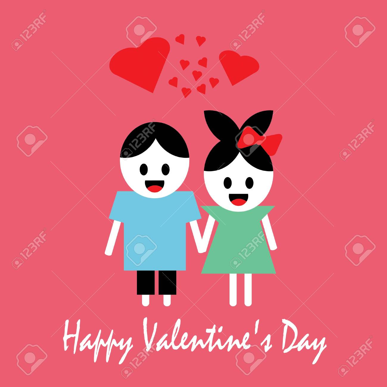 Happy Valentine S Day Greeting Card With A Happy Couple Vector