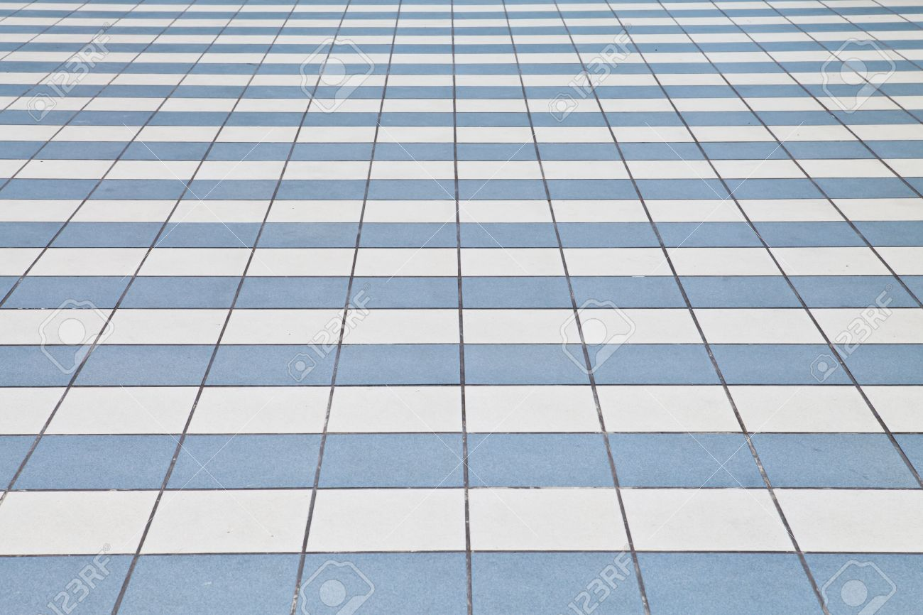 White And Blue Tile Floor Stock Photo, Picture And Royalty Free ...