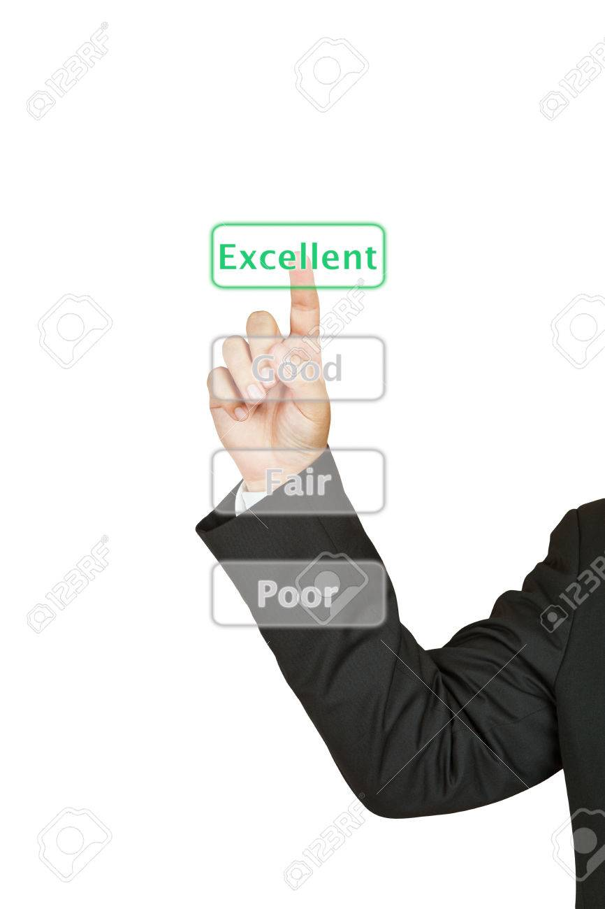 Businessman push excellent button Stock Photo - 25340230