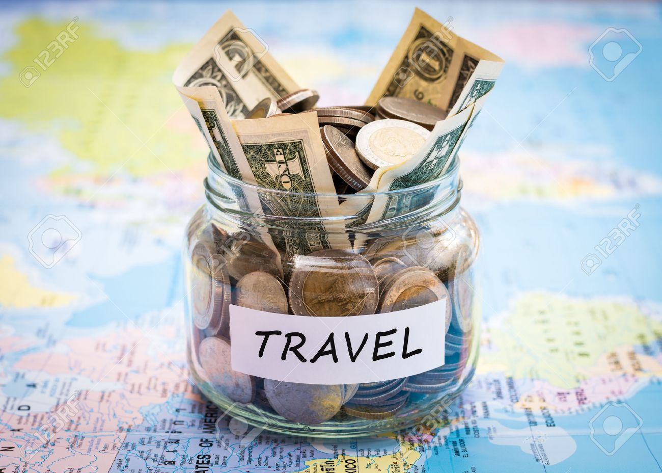 Travel Budget Concept Travel Money Savings In A Glass Jar On – Map World Jar