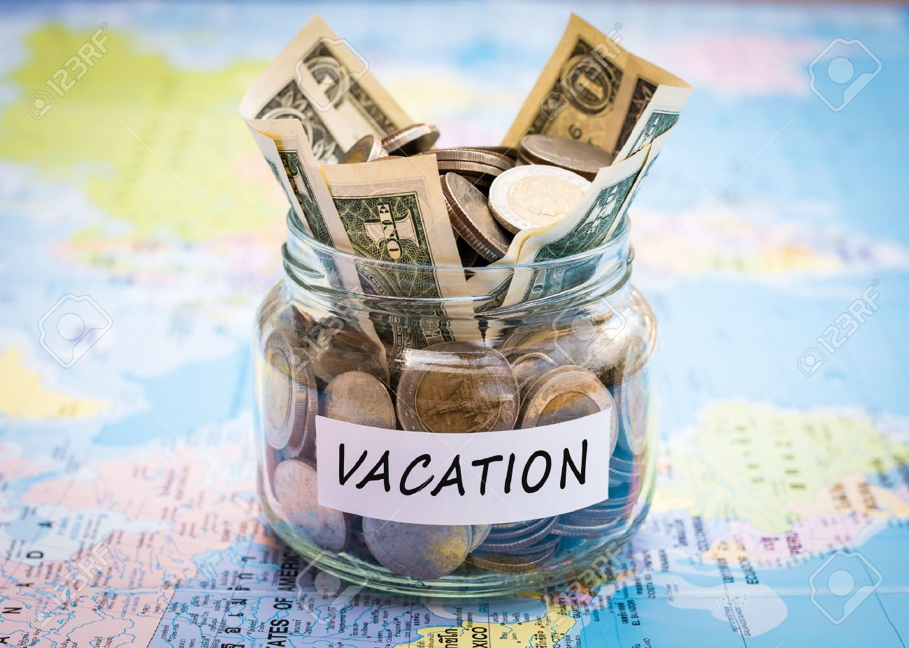 vacation budget concept vacation money savings in a glass jar