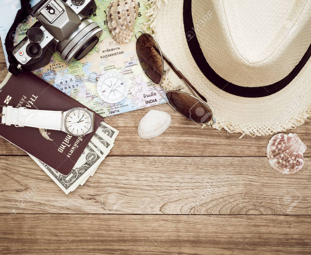 Travel concept with digital camera straw hat sunglasses world travel concept with digital camera straw hat sunglasses world map compass gumiabroncs Images