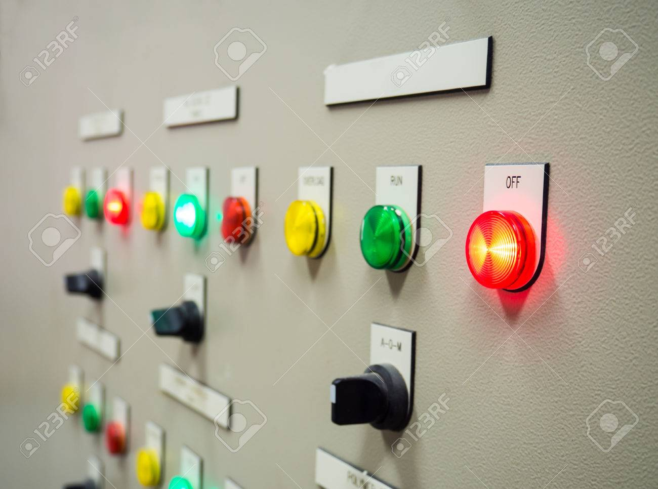 Group Of Status Indicator Light And Selective Switch Of Auto-Manual ...