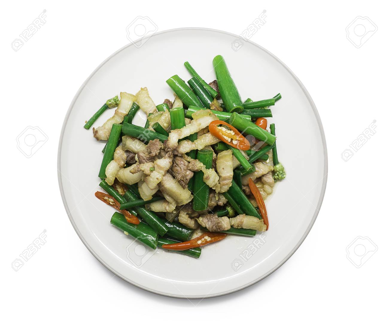 Thai Food Streaky Pork Fried With Spring Onion Flower And Chili