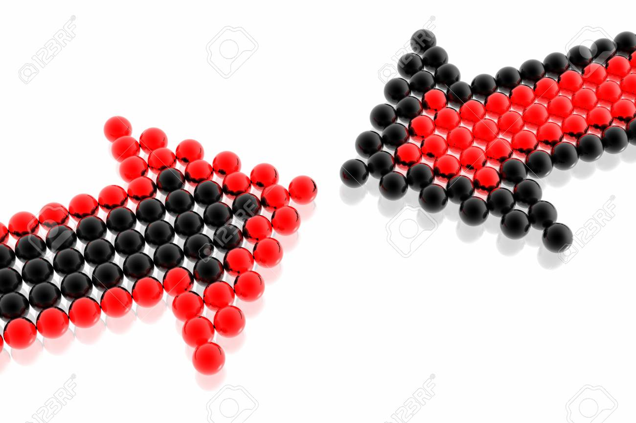 business strategy of red and black team isolated in white background Stock Photo - 2995602